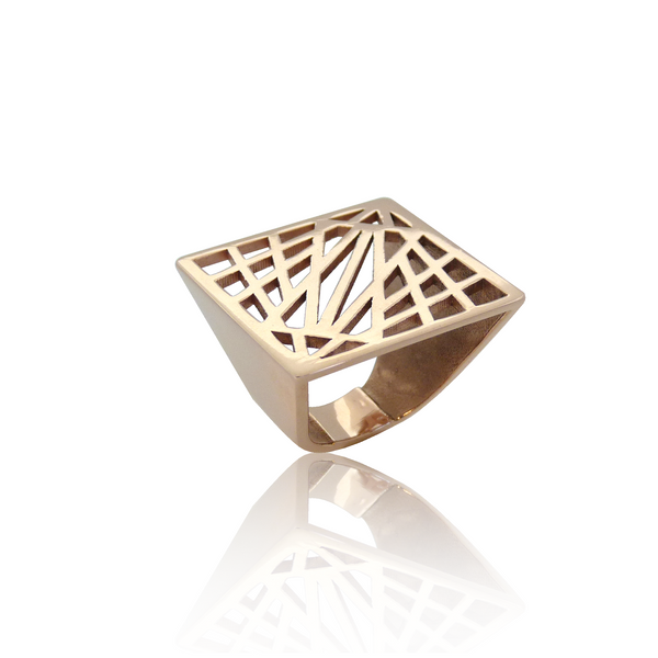 statement ring, grafische ring, geometrische ring, design sieraden, design ring, rosé gouden design ring