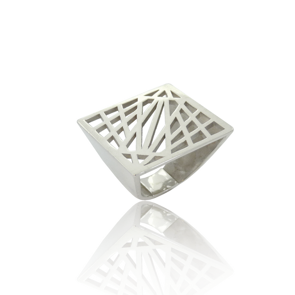 statement ring, grafische ring, geometrische ring, design sieraden, design ring, zilveren design ring