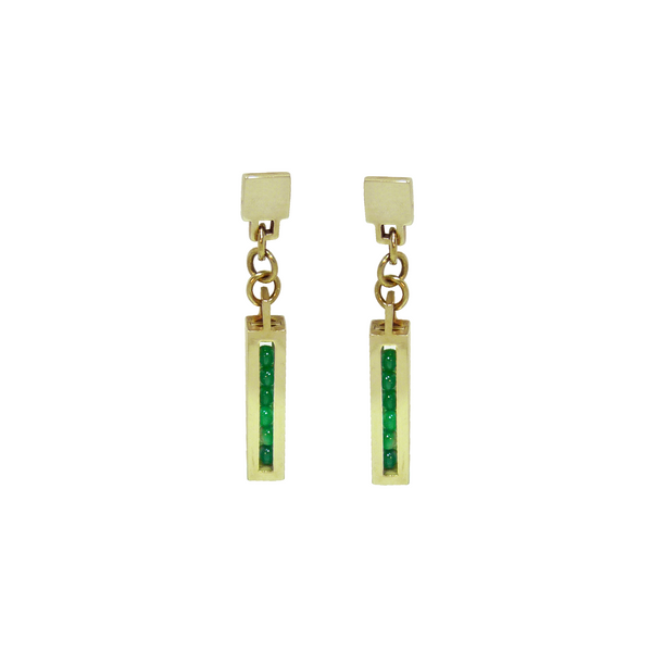 Yellow gold Flow earrings Green Onyx