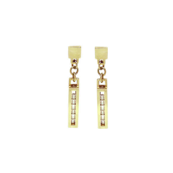 Yellow gold Flow earrings Pearls