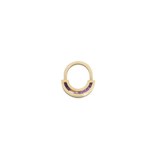 Flow ring yellow gold amethyst front