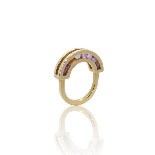 Flow ring yellow gold amethyst