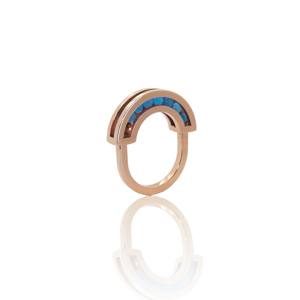 Flow ring red gold blue onyx