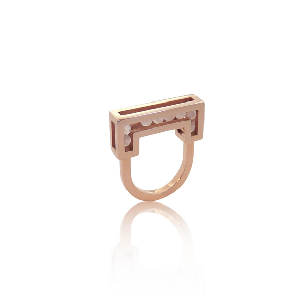 Flow ring red gold rosequartz