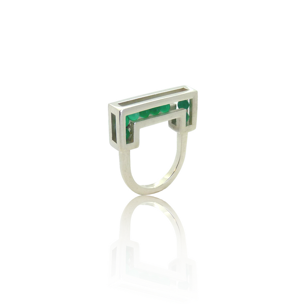 Flow ring silver green onyx