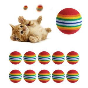 10Pcs Colorful Cat Toy Natural Foam Ball Training Pet Supplies
