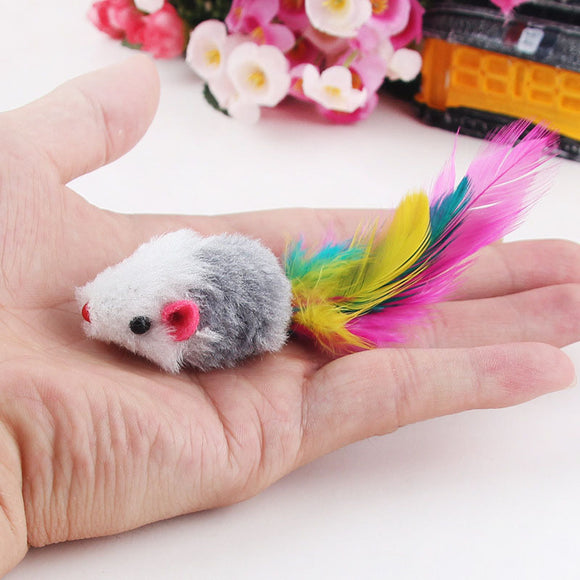 10Pcs Soft Colorful Fleece False Mouse Toys with Feather for Cats