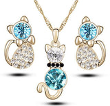 Beautiful Crystal Cat Necklace and Earring Set