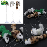 3Pcs Elastic Feather False Mouse Bottom Sucker Toys for Cat