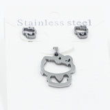 Cartoon Cat Pendant Gold/ Silver Necklace(Free Chain) Earrings Set Jewelry Accessories
