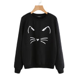 SHEIN Cartoon Cat Print Black Sweatshirt Long Sleeve Round Neck for Women