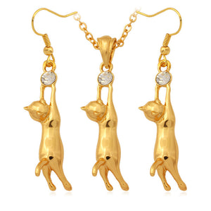 Cat Charm Silver/Gold Color Necklace And Earrings Set Bridal Wedding Jewelry Set