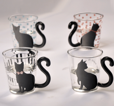 Elegant Glass Coffee Mug--Four Original Cat Designs