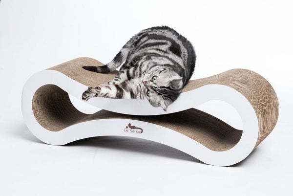 Premium Cat Scratcher Lounge: Made of heavy duty corrugated cardboard this modern cat furniture