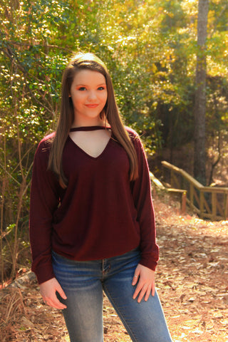 Plum Keyhole Sweater - Rustic Wishes Boutique