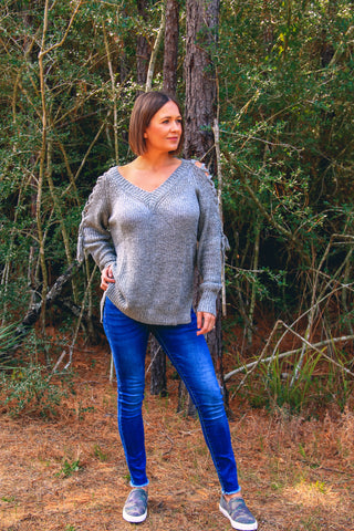 Cold Shoulder Sweater - Rustic Wishes Boutique