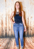 Frayed Ankle Skinny Jeans - Rustic Wishes Boutique