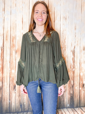 Bubble Sleeve Blouse - Rustic Wishes Boutique