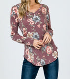 Floral Long Sleeve V-neck - Rustic Wishes Boutique
