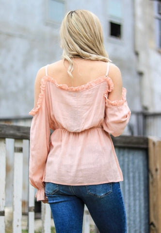 Just Peachy Cold Shoulder - Rustic Wishes Boutique