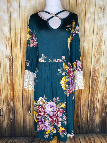 Floral Caged Neck Dress - Rustic Wishes Boutique
