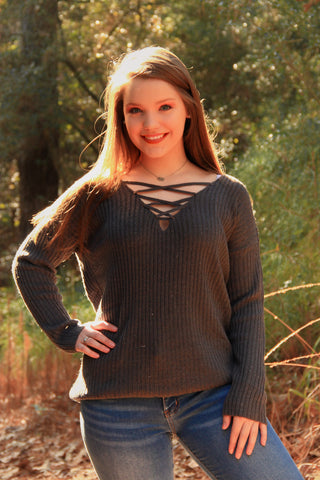Caged Neck Sweater - Rustic Wishes Boutique