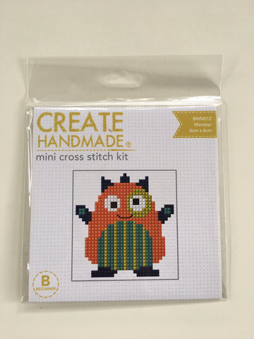 "CLEARANCE!!  ""MONSTER"" mini cross stitch kit - Beginner"