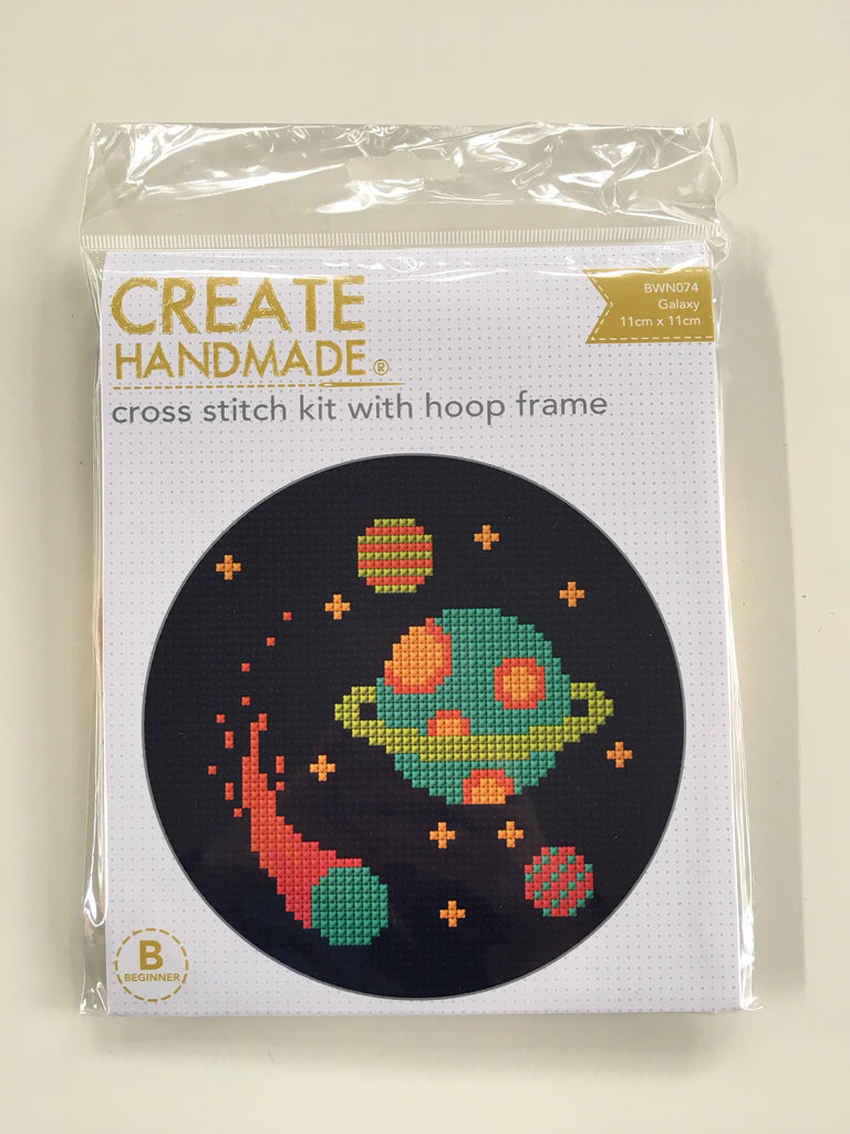 "CLEARANCE!!  ""GALAXY"" cross stitch kit with hoop frame - Beginner"