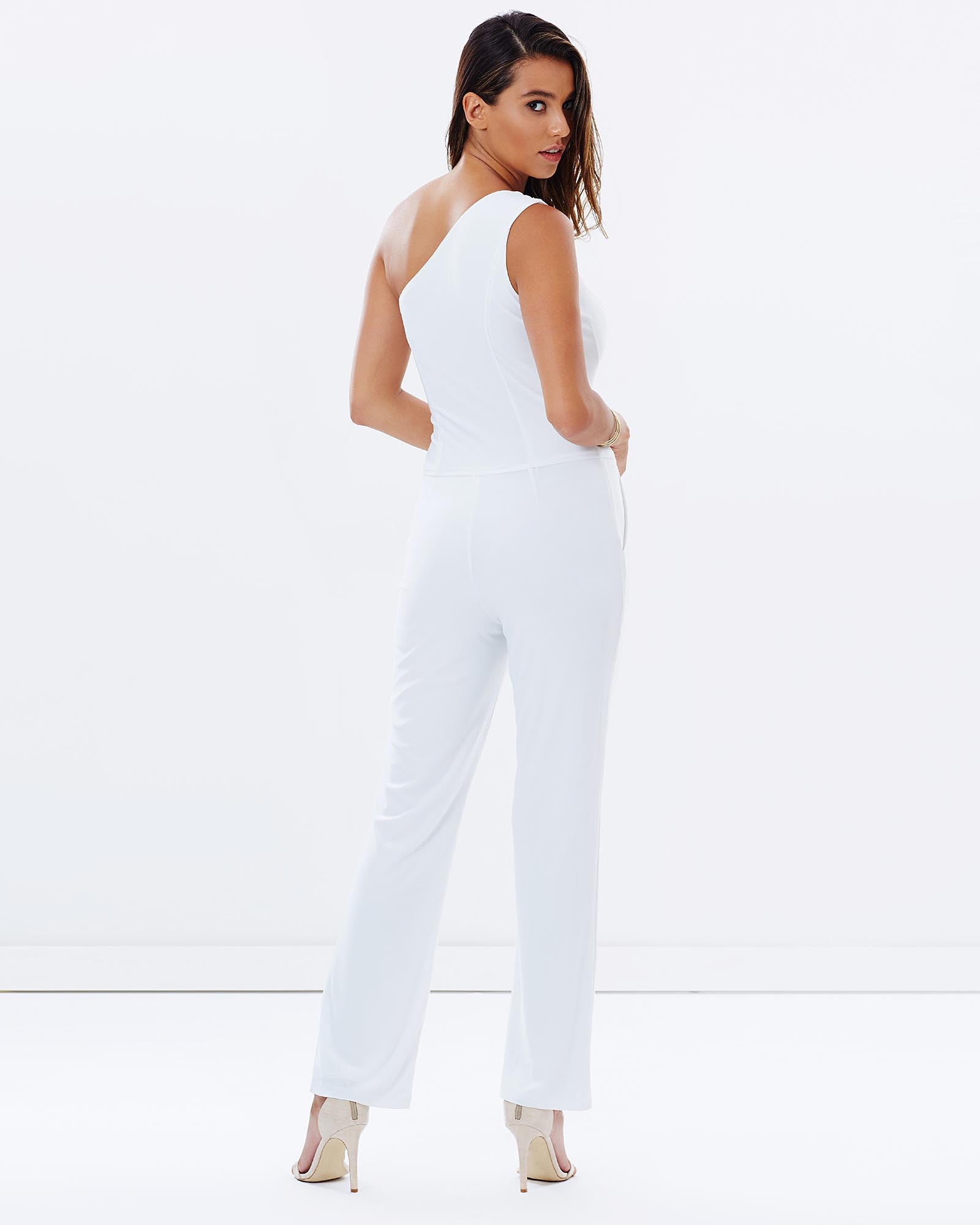One Shoulder Pantsuit - White