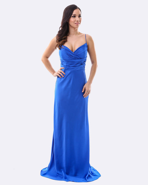 Satin Evening Dress - Blue
