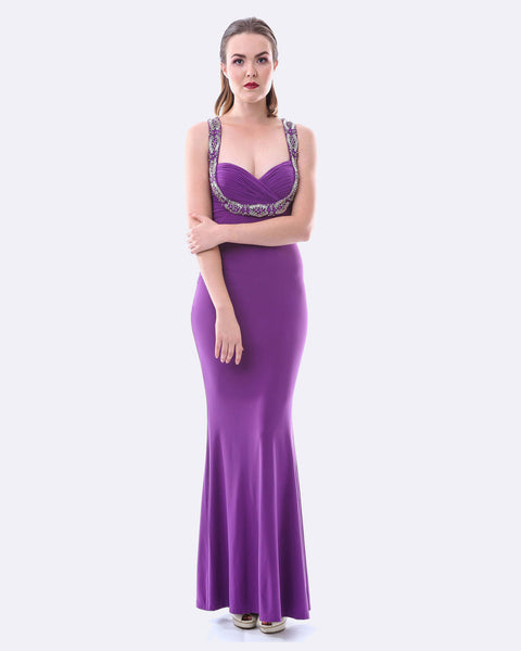 Beaded Evening Dress w/ Split - Purple