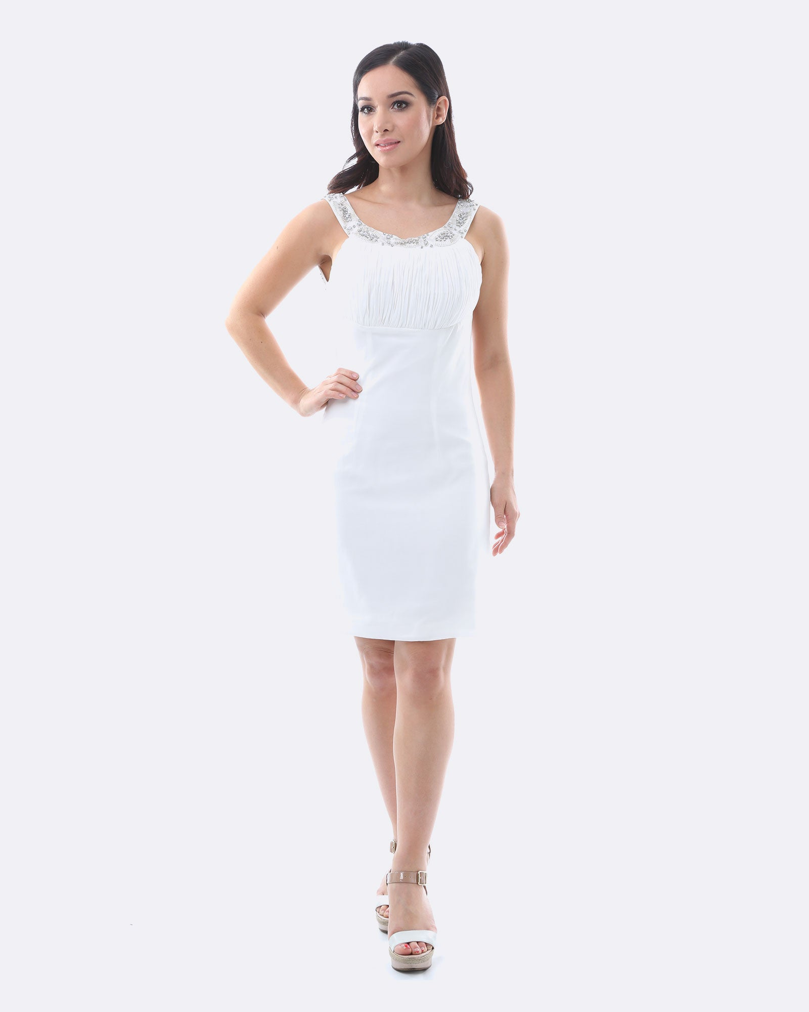 Jewel Collar Chiffon Dress - White