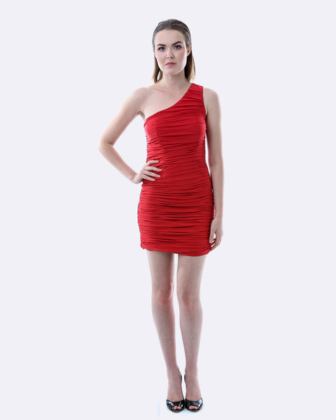 One Shoulder Ruching Dress - Red