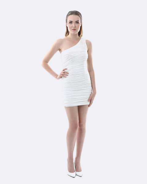 One Shoulder Ruching Dress - White