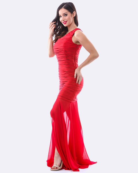 One Shoulder Ruching Dress w/ Chiffon Overlay - Red
