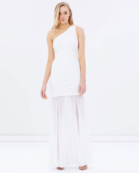 One Shoulder Ruching Dress w/ Chiffon Overlay - White