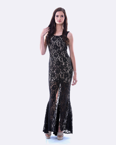 Lace Evening Dress w/ Split (Black)