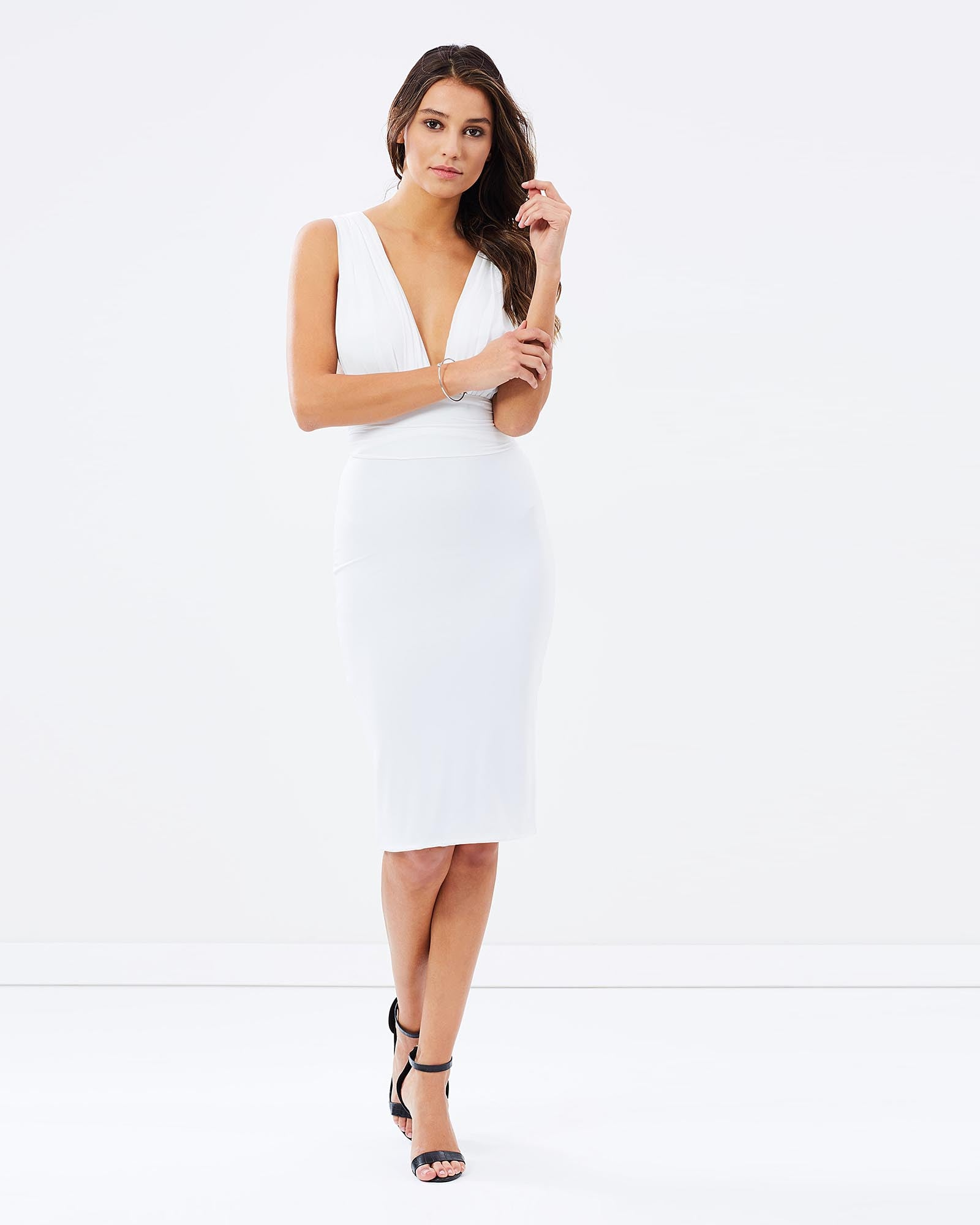 SKIVA cocktail dress white stretch fabric v neck open back shoulder straps zip pull on knee length midi party cocktail evening