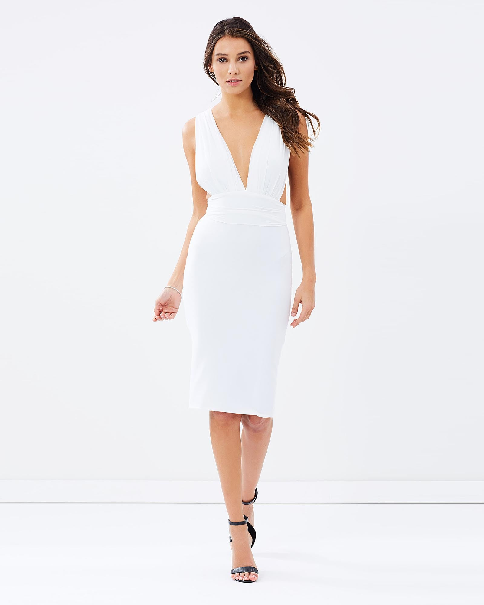 SKIVA cocktail dress white stretch fabric v neck open back shoulder straps zip pull on knee length midi party cocktail evening sexy