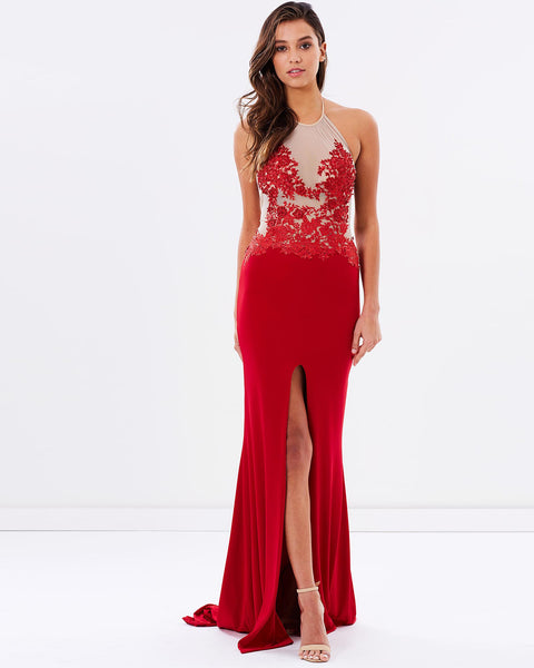 Beaded Lace Evening Dress - Red
