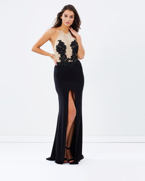Beaded Lace Evening Dress - Black