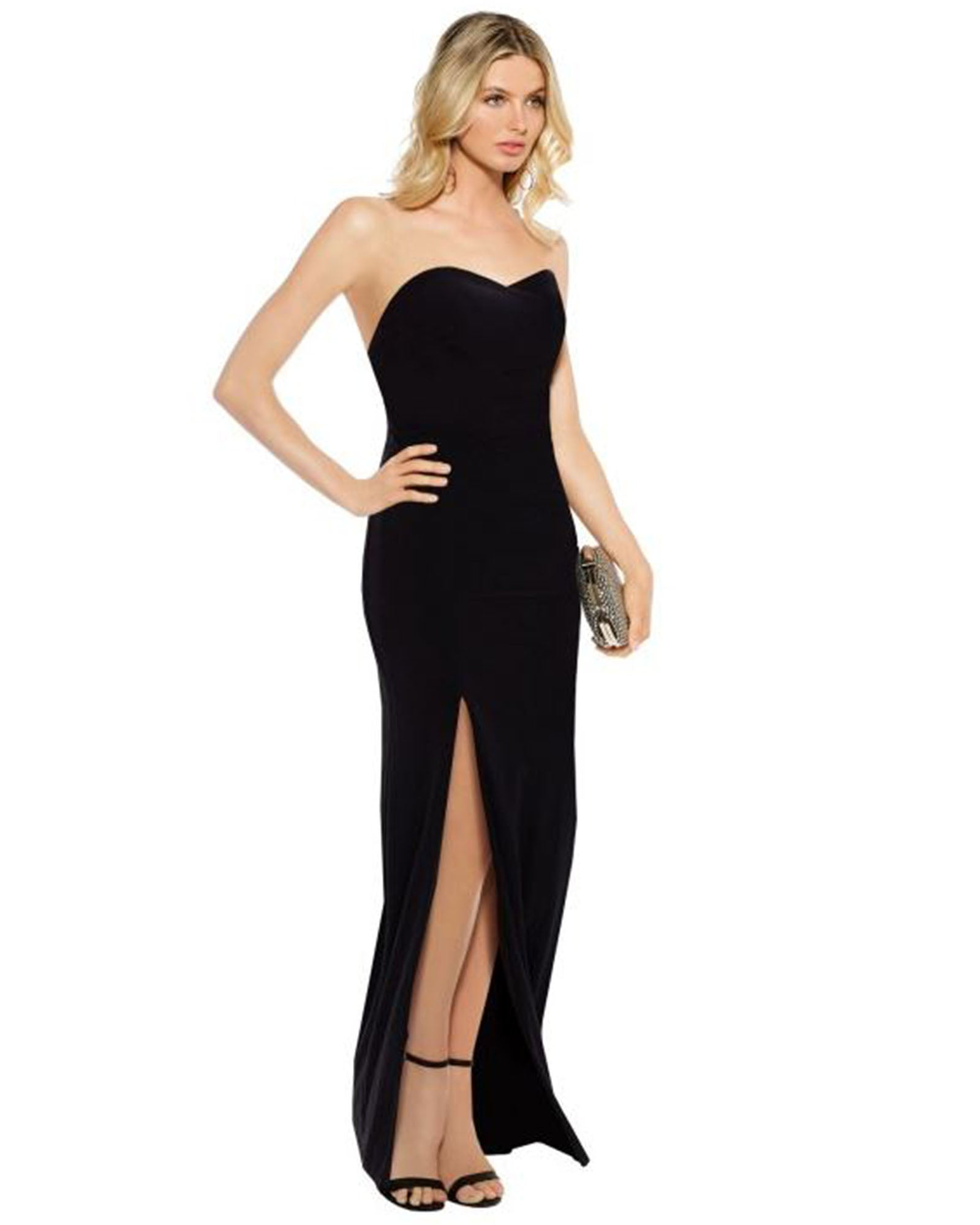 SKIVA strapless evening dress long black split gown open back sheath stretch fabric