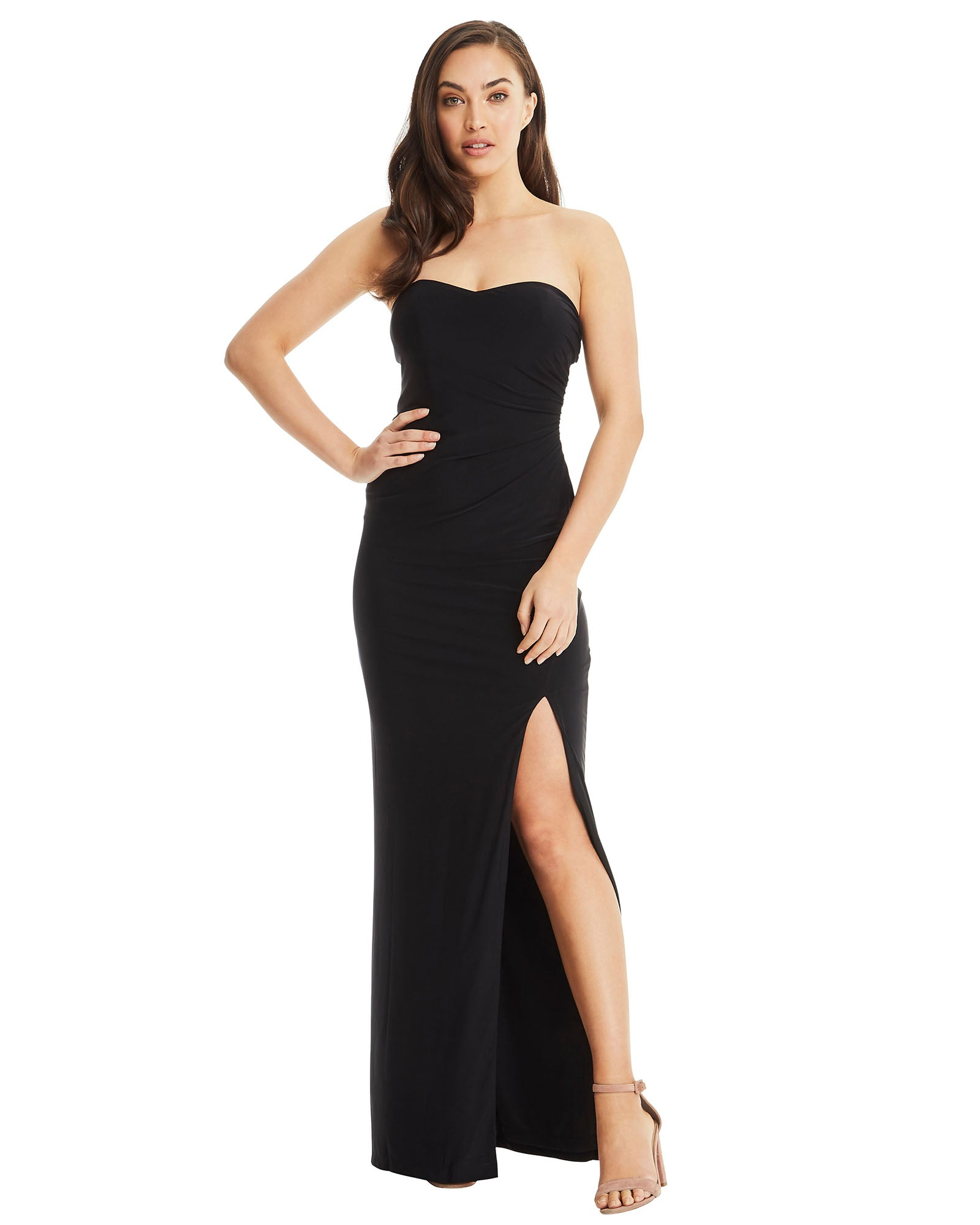 strapless evening dress long black split gown open back sheath stretch fabric