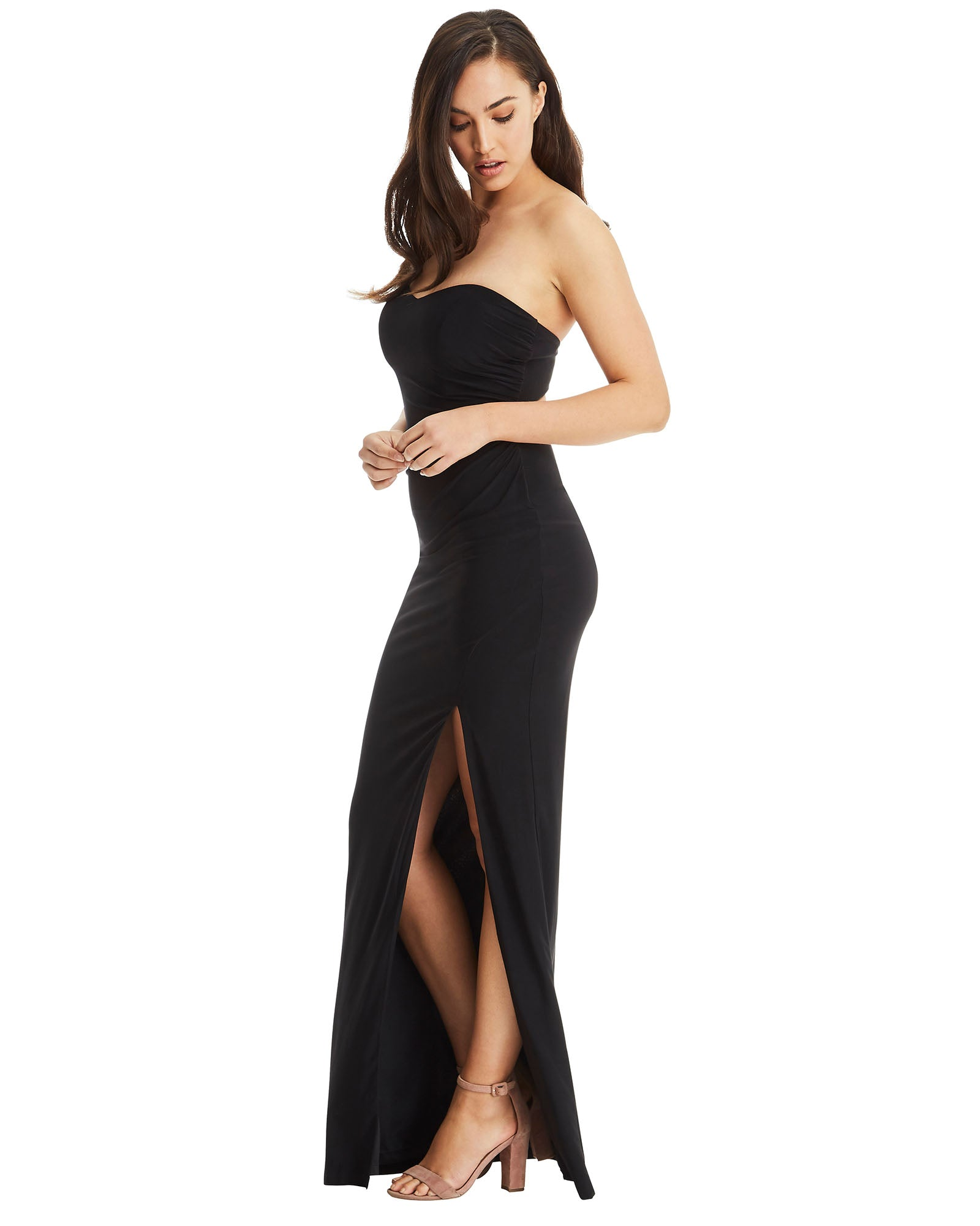 592019b8a0 strapless evening dress long black split gown open back sheath stretch  fabric