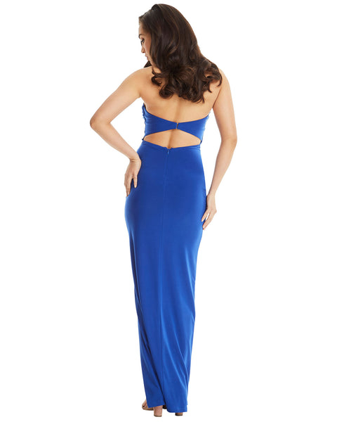 SKIVA strapless evening dress long blue split gown open back sheath stretch fabric