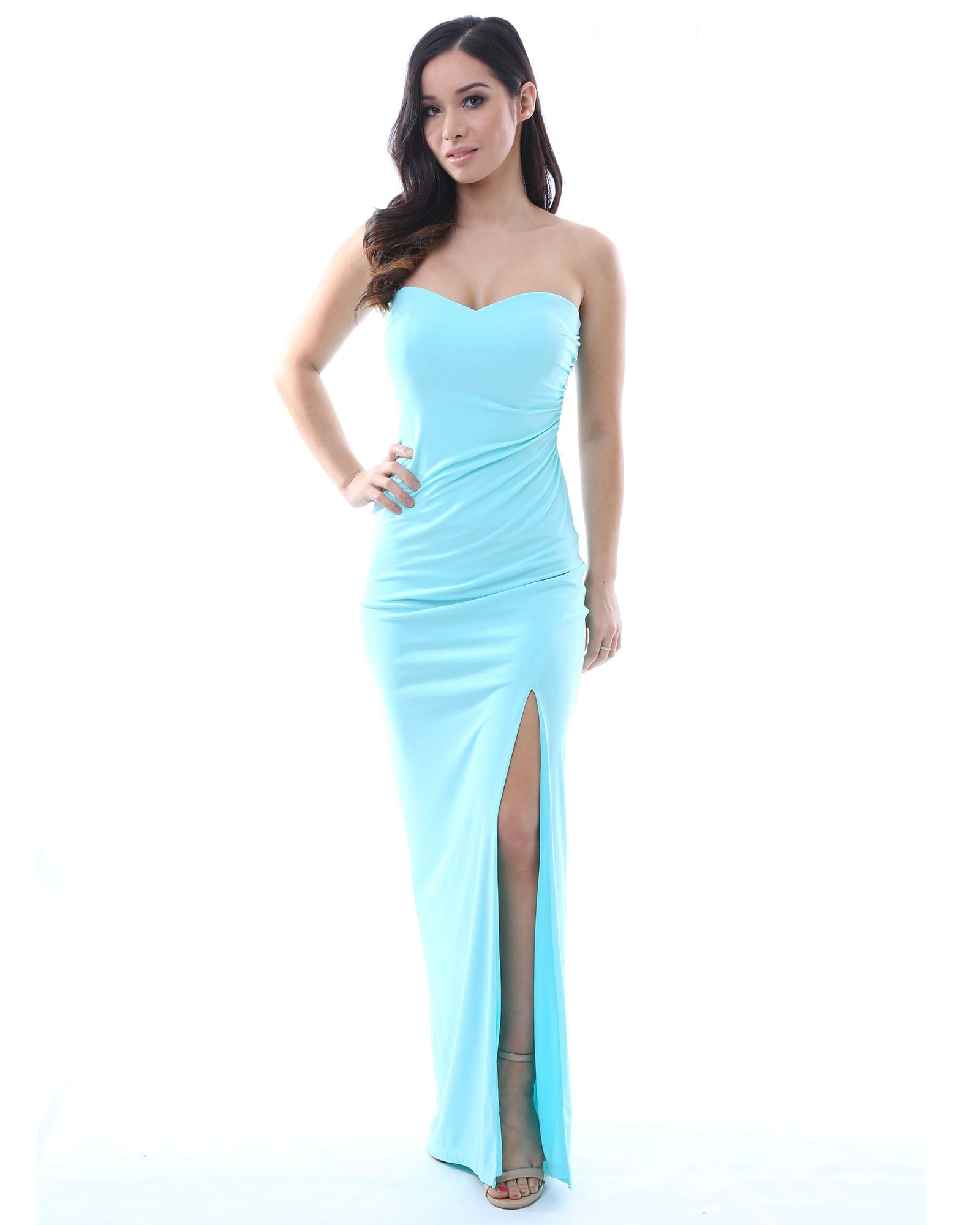 SKIVA strapless evening dress long light blue split gown open back sheath stretch fabric
