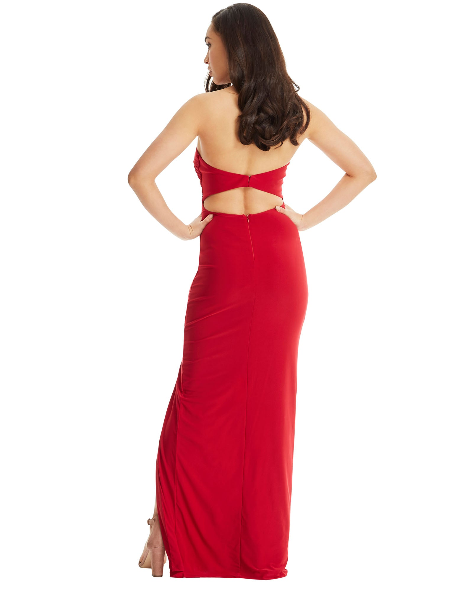 SKIVA strapless evening dress long red split gown open back sheath stretch fabric