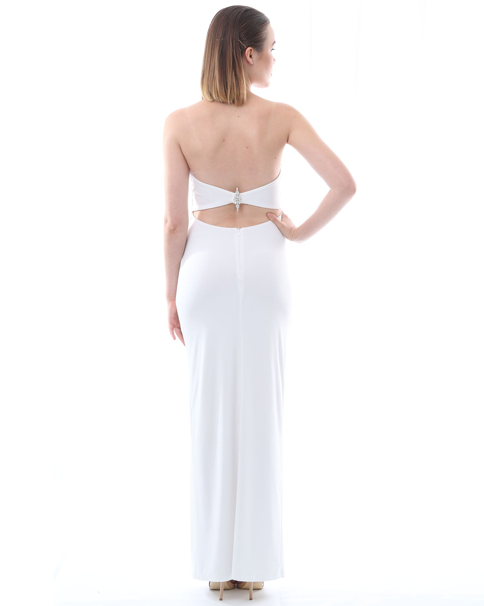 Strapless Evening Dress - White