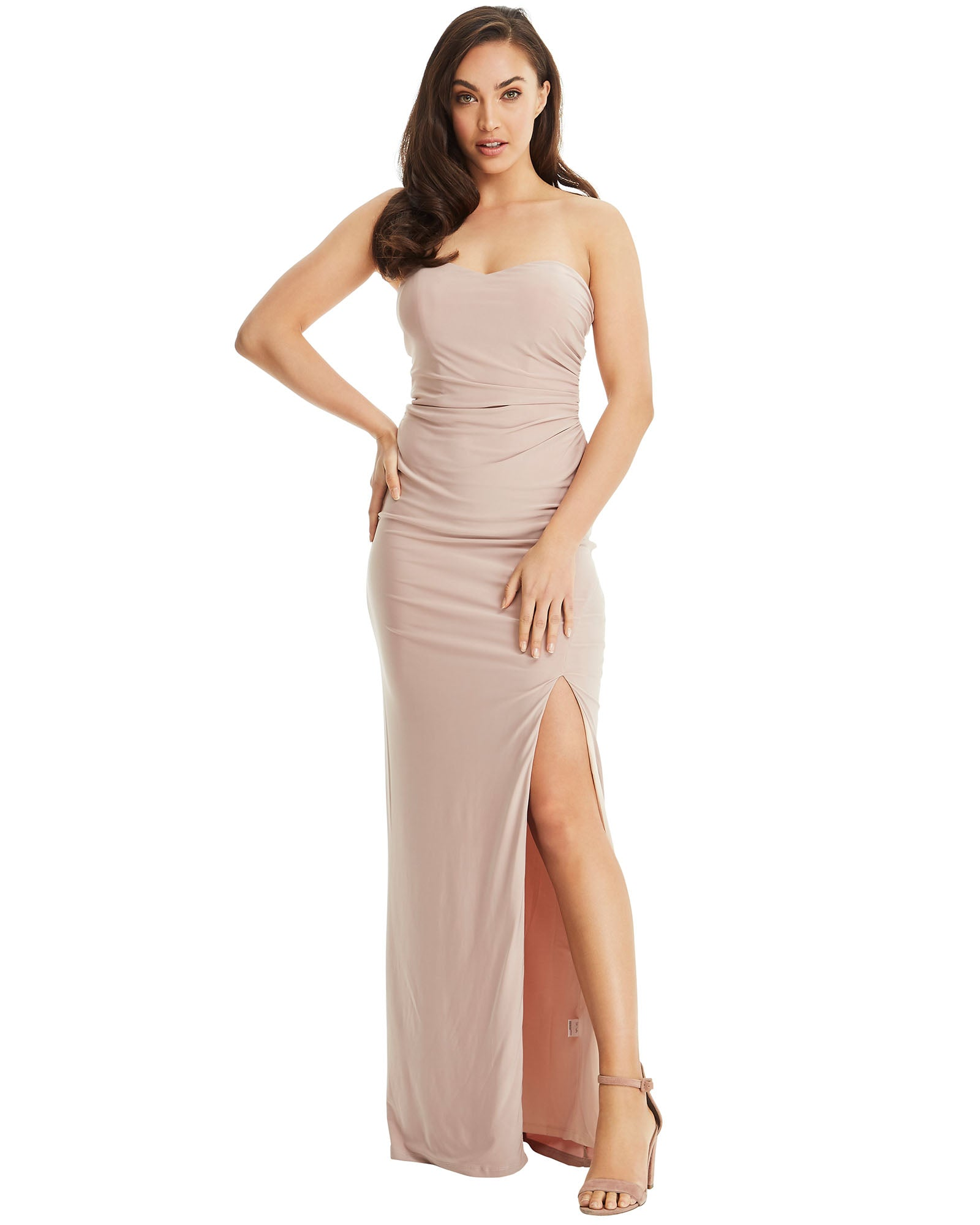 SKIVA strapless evening dress long latte neutral split gown open back sheath stretch fabric