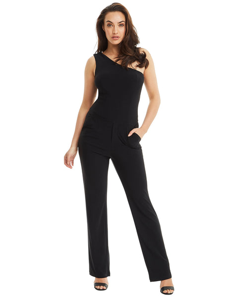 SKIVA one shoulder jumpsuit pantsuit black pockets stretch jersey fabric fully lined